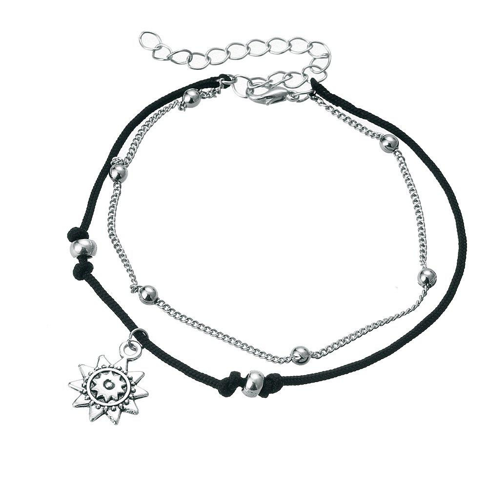 Bohemian Double Silver Alloy Pendant Anklet - SILVER