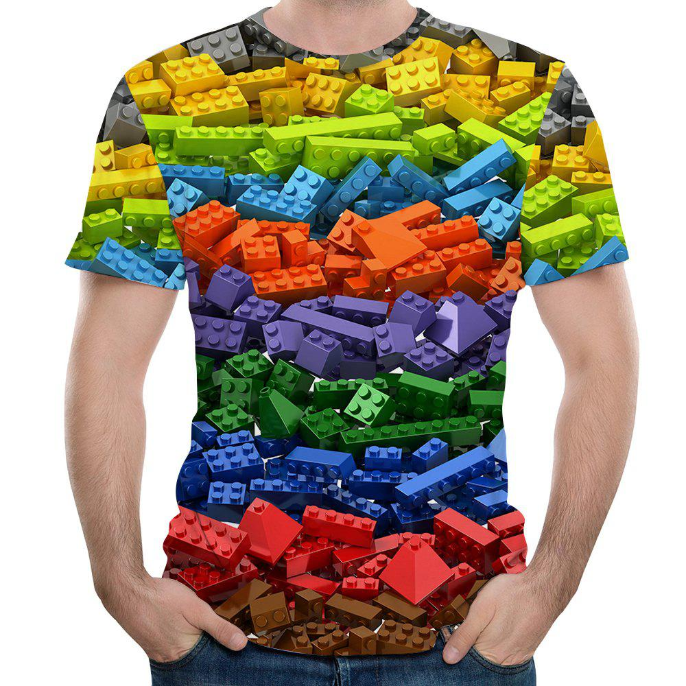 2018 New Fashion Casual Large Size Blocks 3D Printing Short T-Shirt - multicolor L