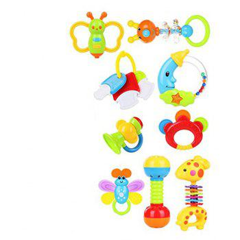 Baby Toy Hand Bell Combination Gift Box Bottle 9pcs - multicolor