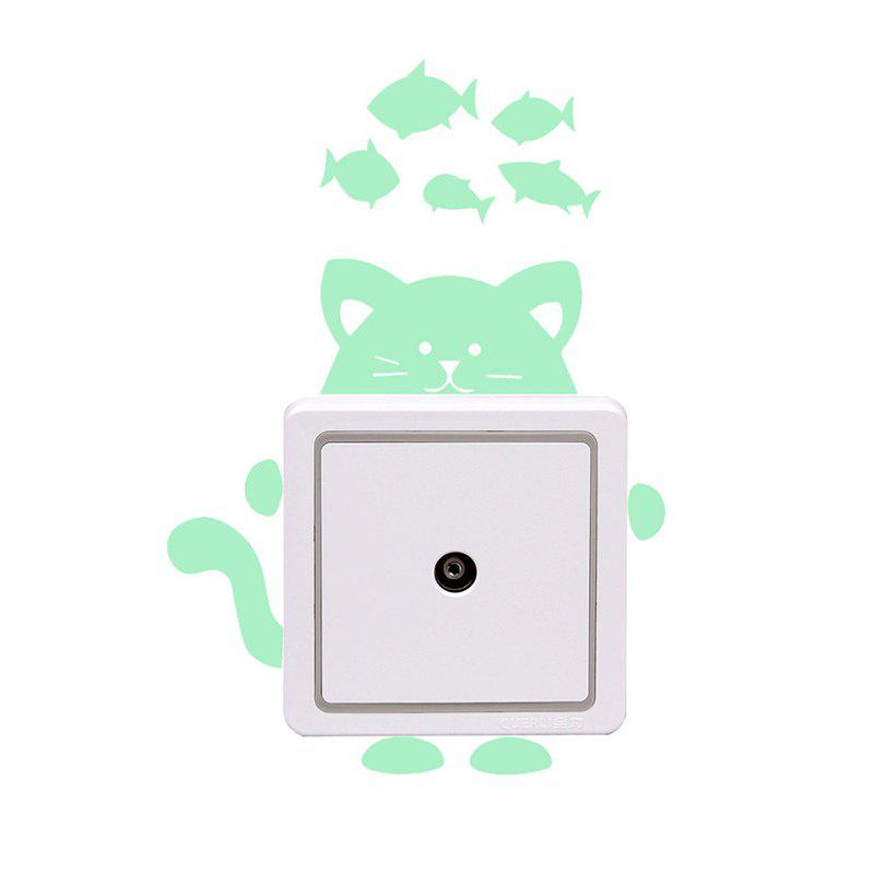 Luminous Cartoon Switch Sticker Glow in the Dark Cat Sticker - LAWN GREEN