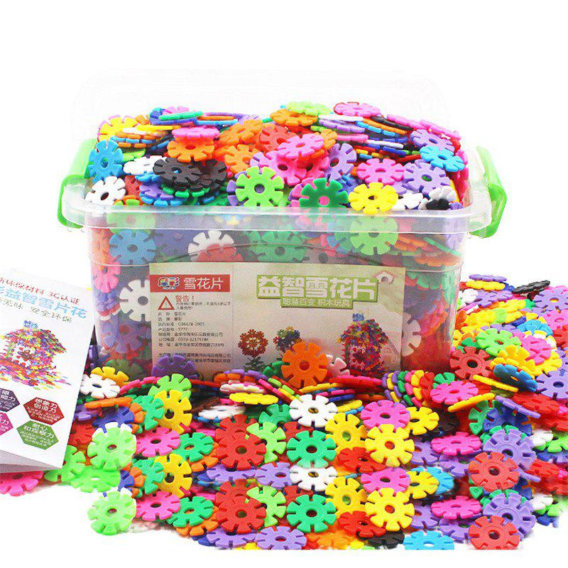 400pcs 3D Puzzle Plastic Snowflake Building Blocks - multicolor