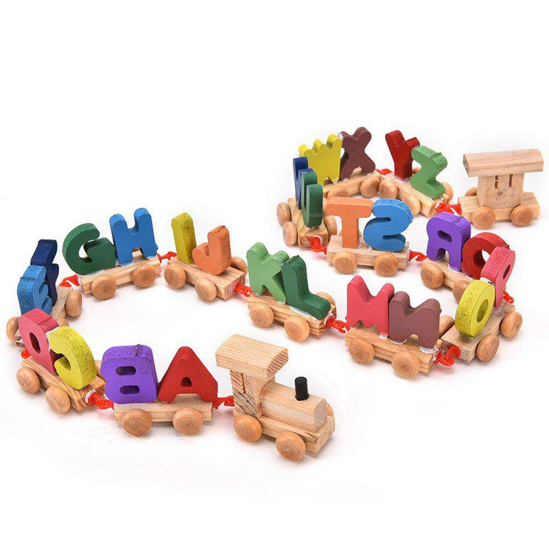 Wooden Train Figure Model Toy with Alphabetical Number - multicolor