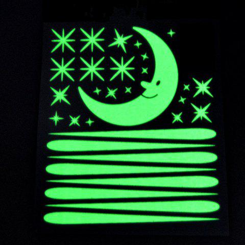 Luminous Meteor Shower and Crescent Moon Wall Sticker for Kids Rooms Decoration - NEBULA GREEN