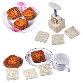 12Pcs Flower Moon Cake Mold Mould Pastry Mooncake Hand DIY Tool - WHITE