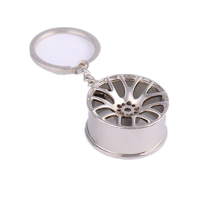 Wheel Hub Metal Car Keychain - SILVER