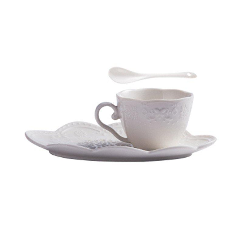 3PCS European Style Creative Ceramic Milk Coffee Cup - WHITE 21*13.5*8
