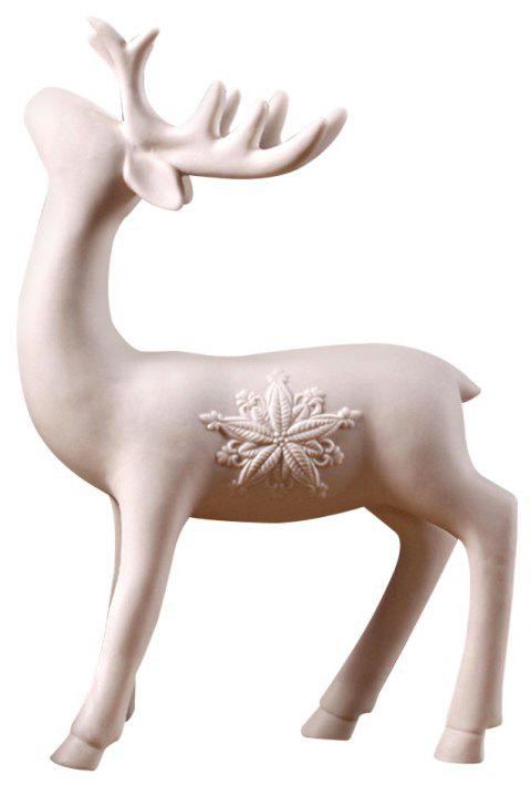 Country Simple Creative Home Window Shooting Props White Ceramic Deer Ornament - multicolor A
