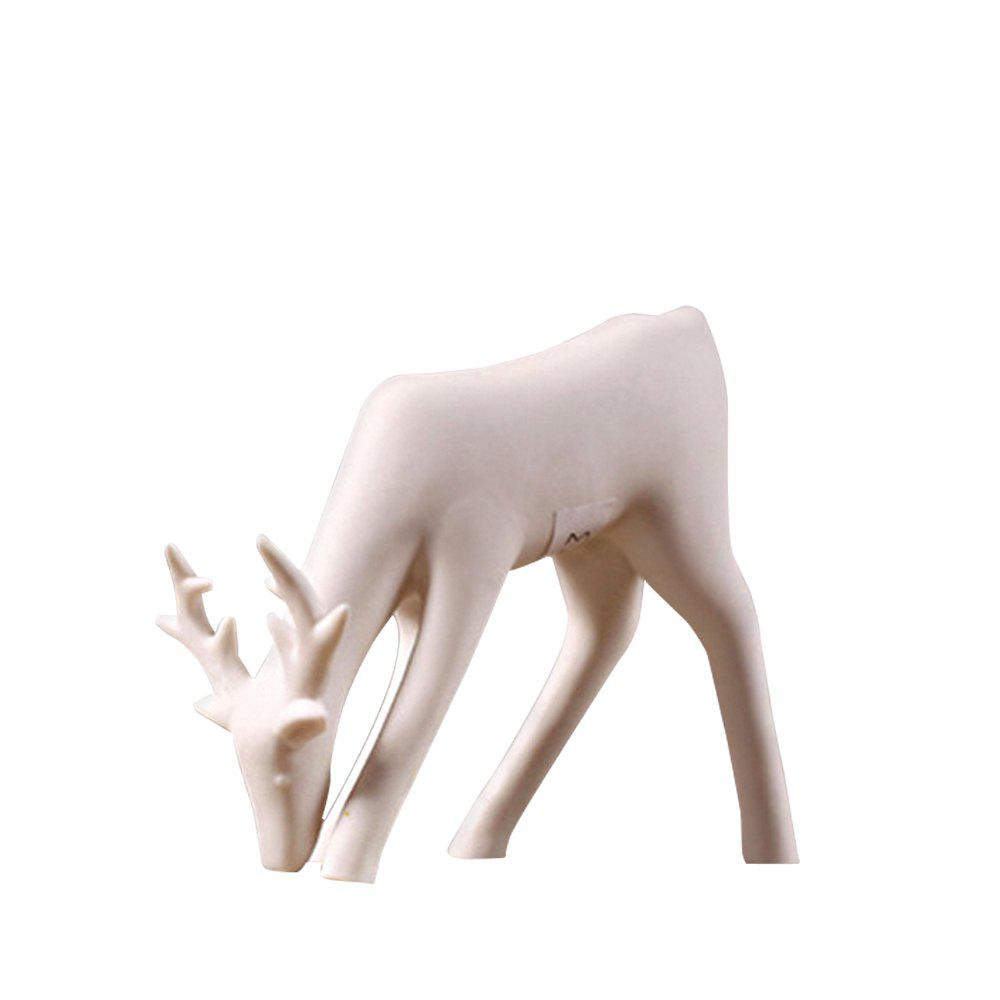 Country Simple Creative Home Window Shooting Props White Ceramic Deer Ornament - multicolor D