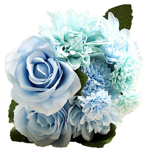 Home Table Decoration Ornaments Dali Bouquet Artificial Rose - BLUE ANGEL