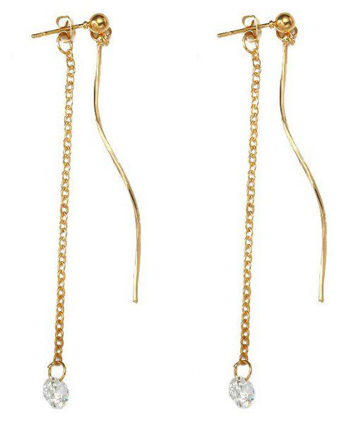 Simple Temperament Zircon Curve Personality Earring - GOLD