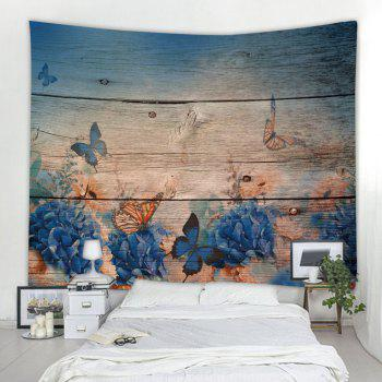 Wood Board Butterfly 3D Printing Home Wall Hanging Tapestry for Decoration - multicolor W153CMXL102CM