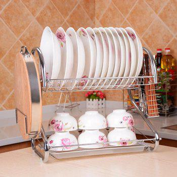Double-layer Draining Bowl Rack - SILVER