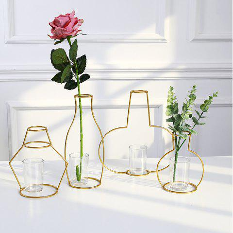 Gold Iron Shelf Flower Elegant Vase with Glass Cup for Home Garden Decor - GOLD A