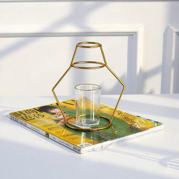 Gold Iron Shelf Flower Elegant Vase with Glass Cup for Home Garden Decor - GOLD C