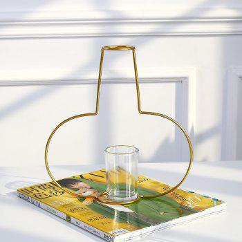 Gold Iron Shelf Flower Elegant Vase with Glass Cup for Home Garden Decor - GOLD D