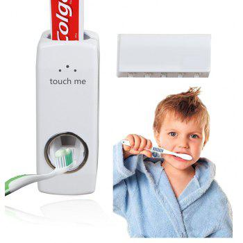 Automatic Extrusion Toothpaste Wall Mount Toothbrush Holder with 5 PCS Brush - WHITE