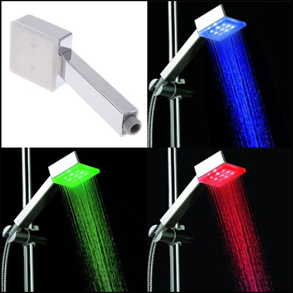 Hydropower Square Led Color Changing Shower Head for Bathroom - multicolor TEMPERATURE SENSOR 3 COLORS