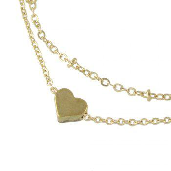 Multi Layer Chain Heart Charm Anklets - GOLD
