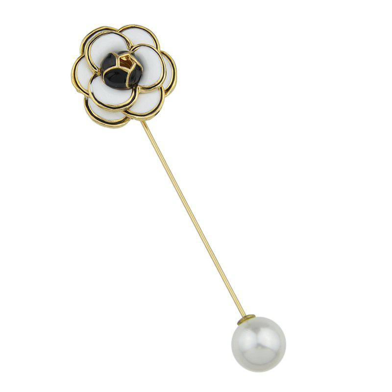Enamel with Simulated-pearl Flower Brooch - WHITE
