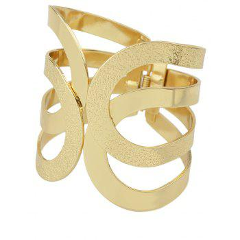 Simple Hollow-out Wide Cuff Bracelets - GOLD