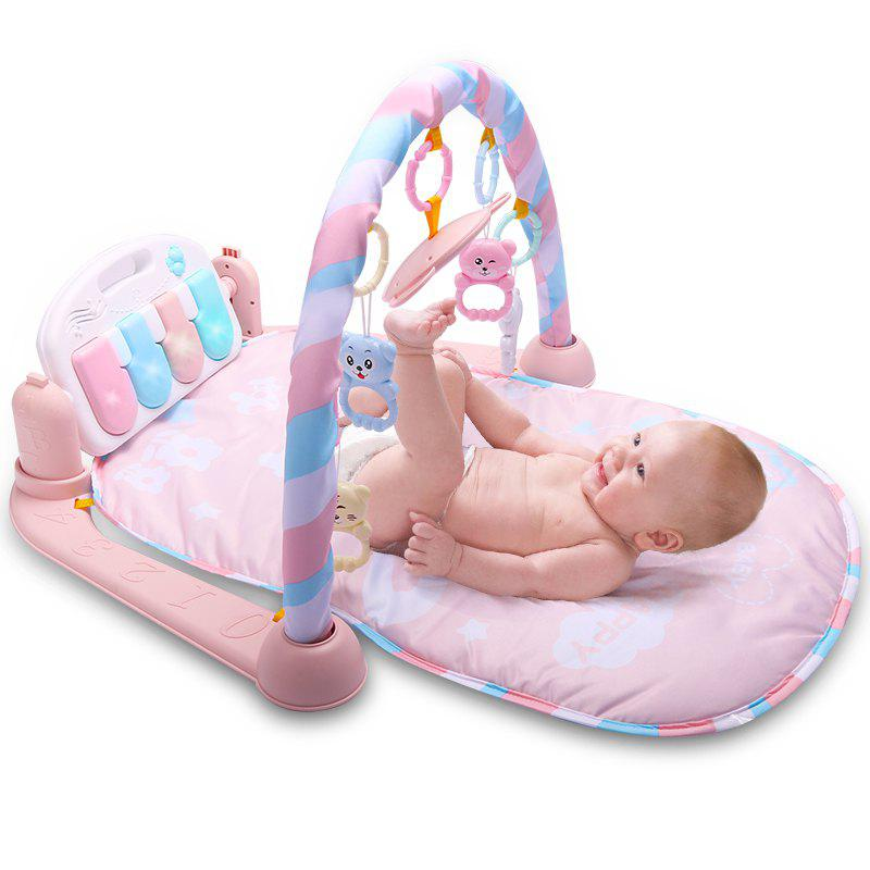 Baby Fitness Play Lay Mat Piano Rack Music Game Blanket Mirror Hanging Toy - PINK