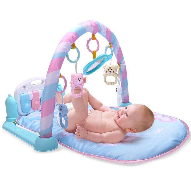 Baby Fitness Play Lay Mat Piano Rack Music Game Blanket Mirror Hanging Toy - LIGHT SKY BLUE