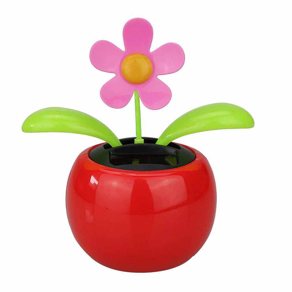 Flip Flap Solar Powered Flower Flowerpot Swing Dancing Toy - RED
