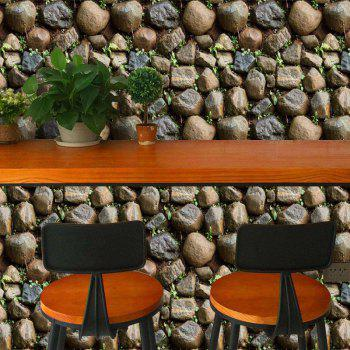 3D Rustic Stone with Grass Wall Sticker Removable PVC Wallpaper - multicolor