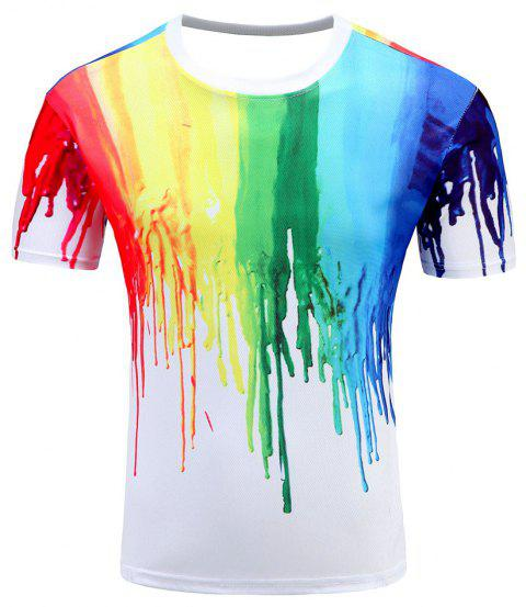 Men's Short Sleeve Summer Print 3D Personality T-Shirt - multicolor C M