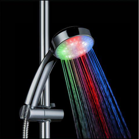 Automatic 7 Changing Color LED Light Round Shower Head - multicolor MULTICOLOR FAST FLASHING TYPE