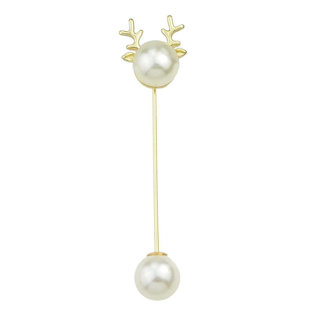 Lovely Antler Double Imitation-pearl Brooch - GOLD