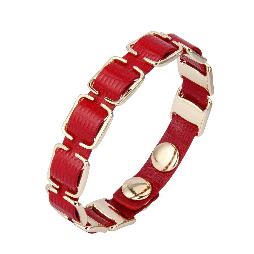 Fashion Accessories Personality Ring Button Leather Bracelet - RED