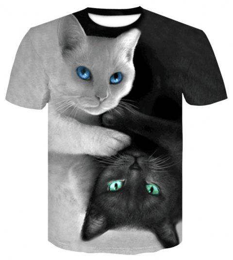 Men's Summer Short Sleeve 3D Digital Print Cat T-Shirt - multicolor B 4XL