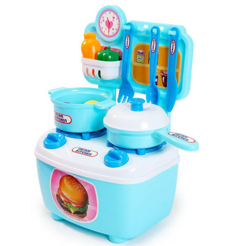 Kitchen Cooking Utensils And Appliances Children Toy Sets Cyan Or Aqua
