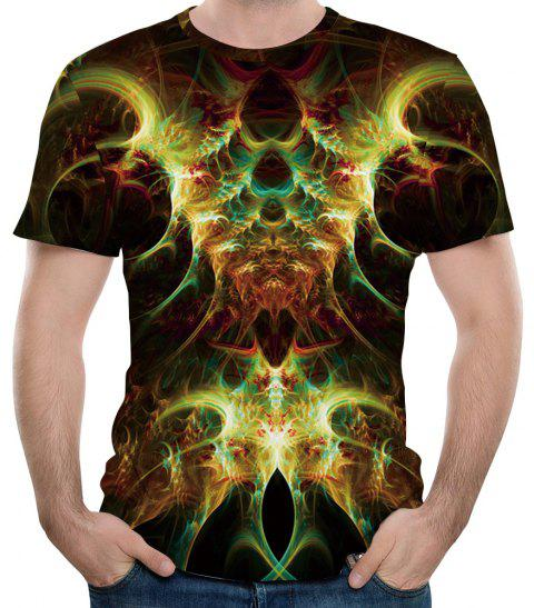 2018 New Flame Fashion Casual Impression 3D T-shirt court - multicolor 4XL