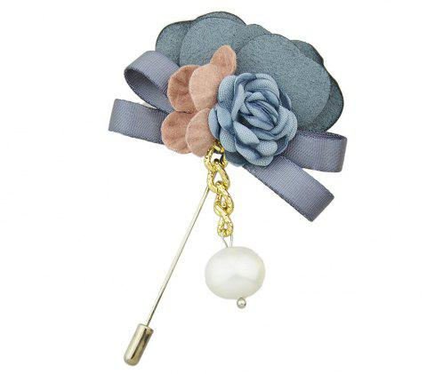 Colorful Suede Fabric Ribbon Flower Brooch - multicolor B