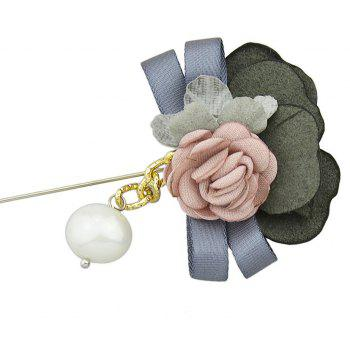 Colorful Suede Fabric Ribbon Flower Brooch - multicolor A
