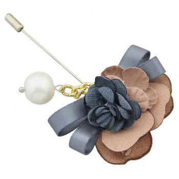 Colorful Suede Fabric Ribbon Flower Brooch - multicolor C