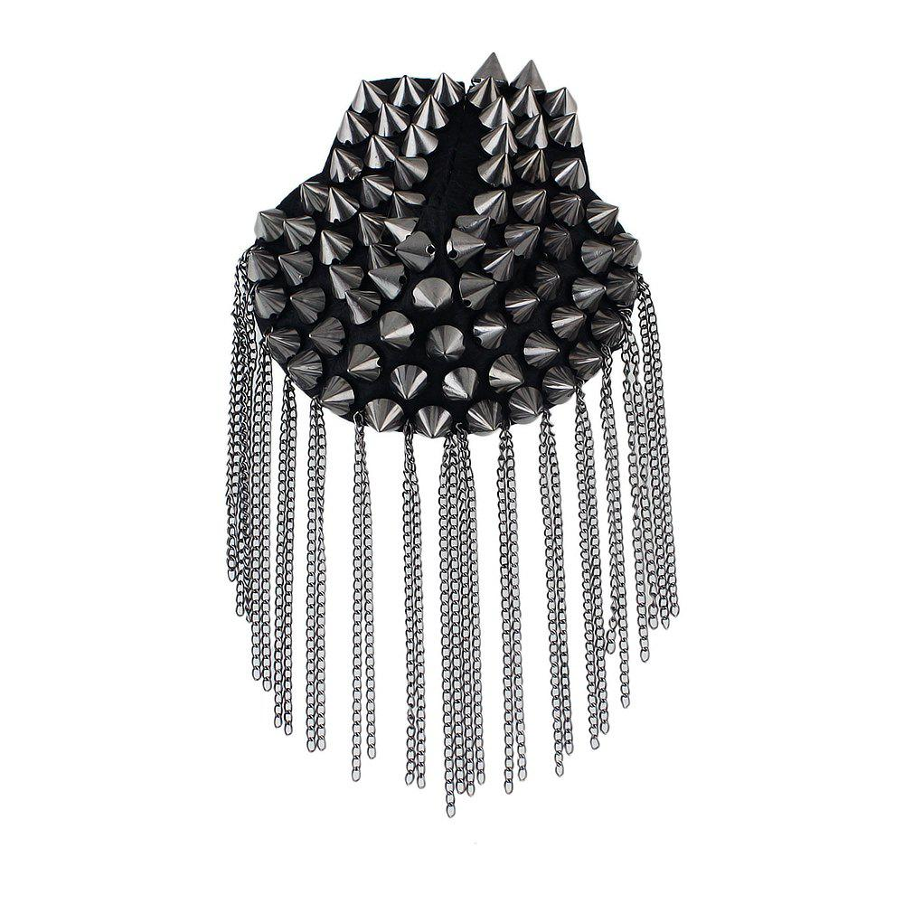 Gunblack Color Metal Spike with Tassels Brooch - GUNMETAL