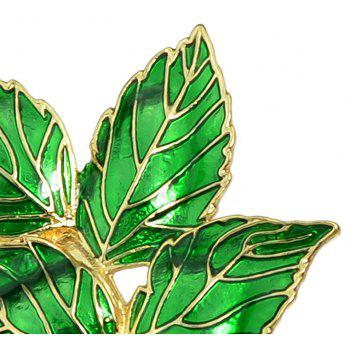 Green Enamel Four Leaves Pattern Brooches - SPRING GREEN