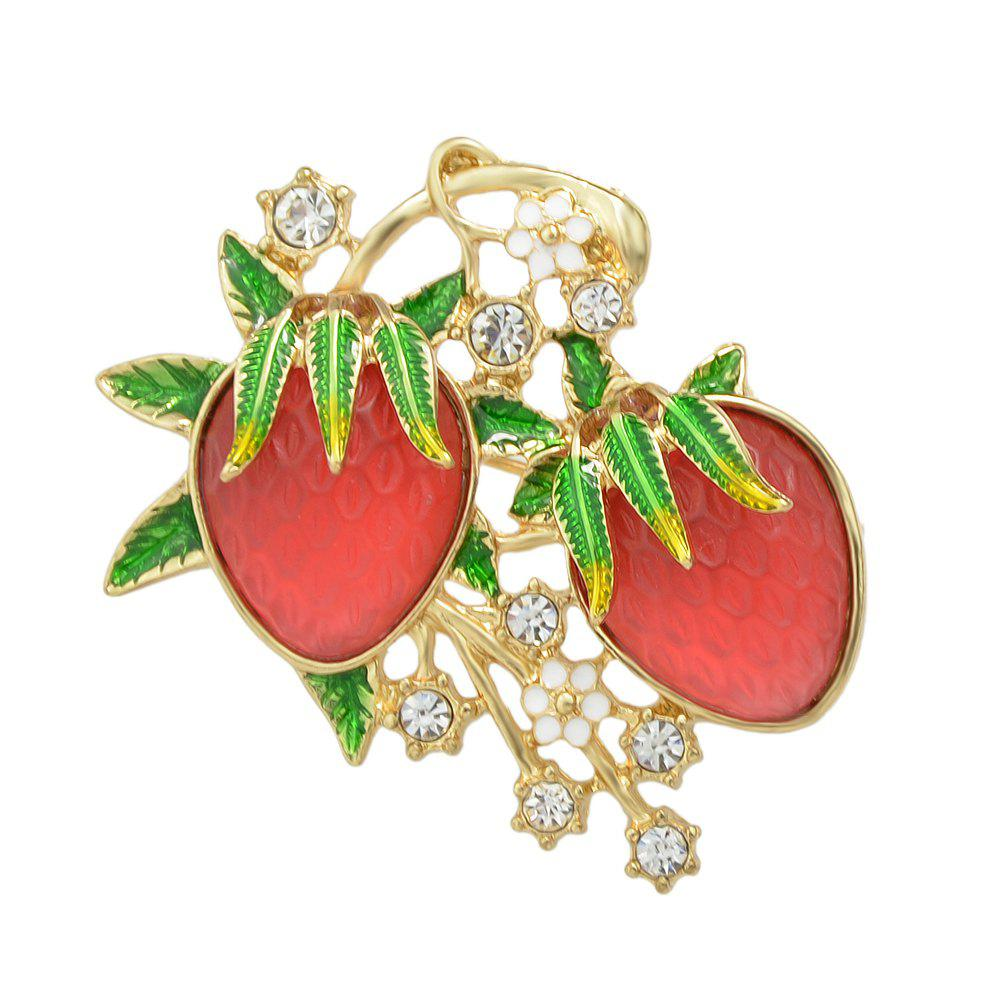 Rhinestone Colorful Enamel Strawberry Brooch - multicolor