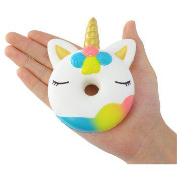 Slow Recoil PU One Horn Doughnut Jumbo Squishy Toy - multicolor A