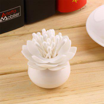 Creative Lotus Shaped Cotton Swabs Toothpick Storage Box - WHITE