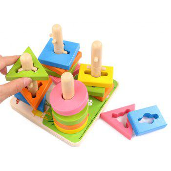 Early Childhood Educational Wooden Toys Column Blocks Puzzle - multicolor