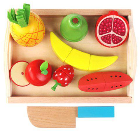 Children Wooden Tray Magnetic Cut Fruit Vegetable Toy - multicolor B