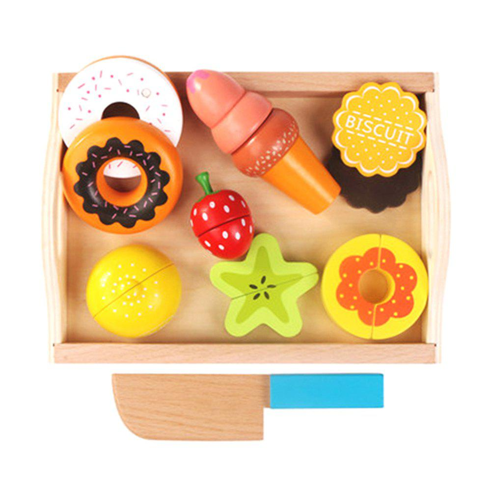 Children Wooden Tray Magnetic Cut Fruit Vegetable Toy - multicolor C