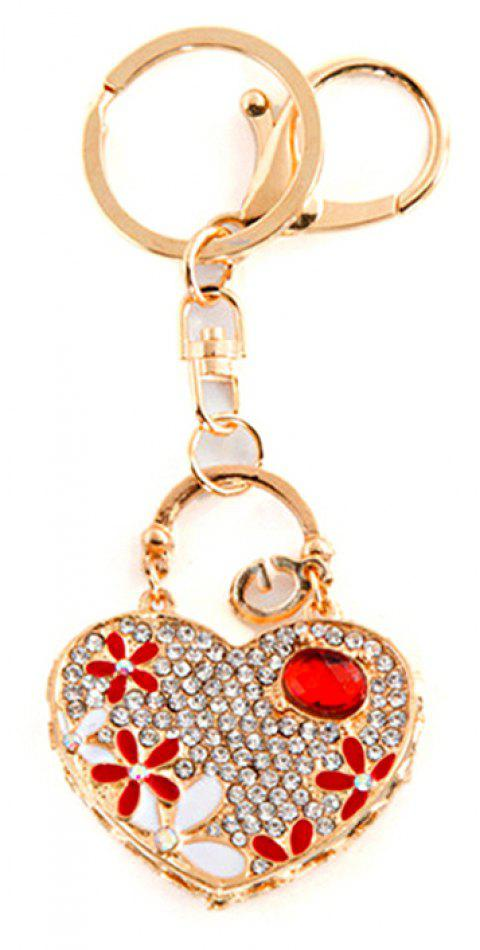 Love Heart Car Pendant Ladies Bag Alloy Keychain - RED