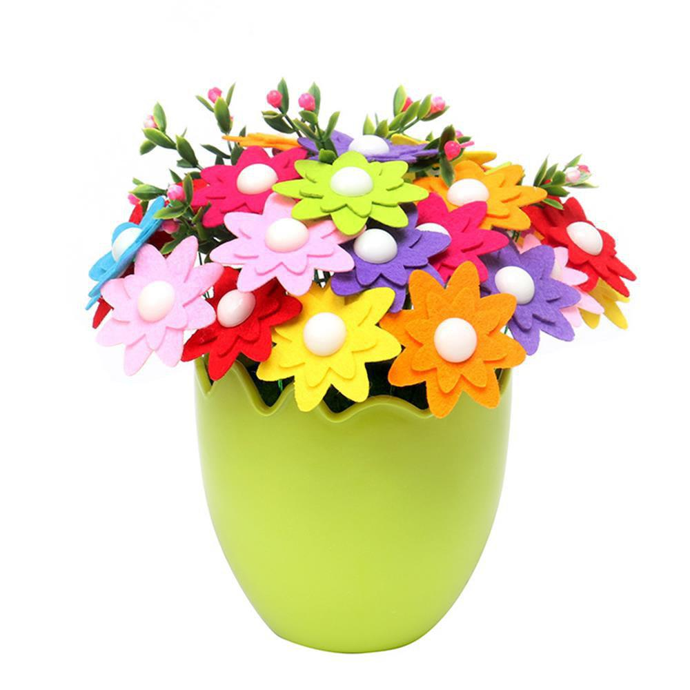 Kindergarten Children Educational Toys Handmade Button Bouquet DIY Material Pack - multicolor B