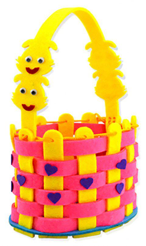 Children Kindergarten Hand-Woven  Flower Basket DIY Material Package - YELLOW