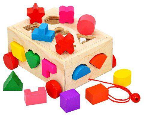 Childhood Educational Toy Wooden Shape Building Blocks Intelligence Box - multicolor